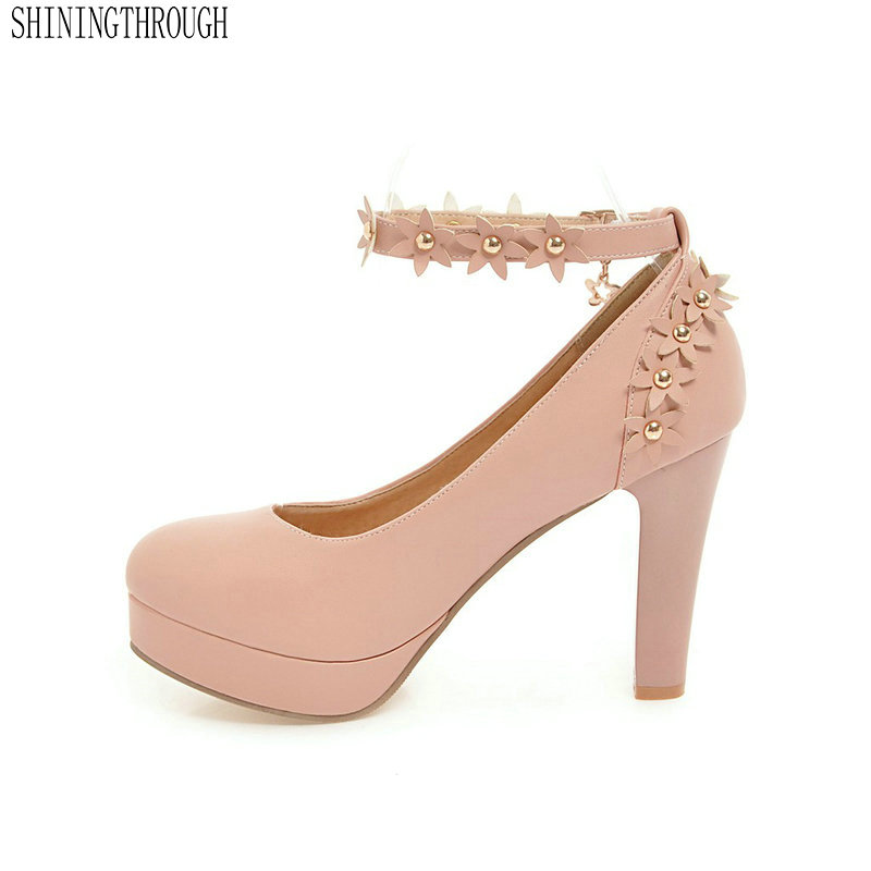 New women Pumps Shoes Women PU Leather Shallow Slip-On Round Toe High heels Wedding Party derss shoes mujer plus size 34-43