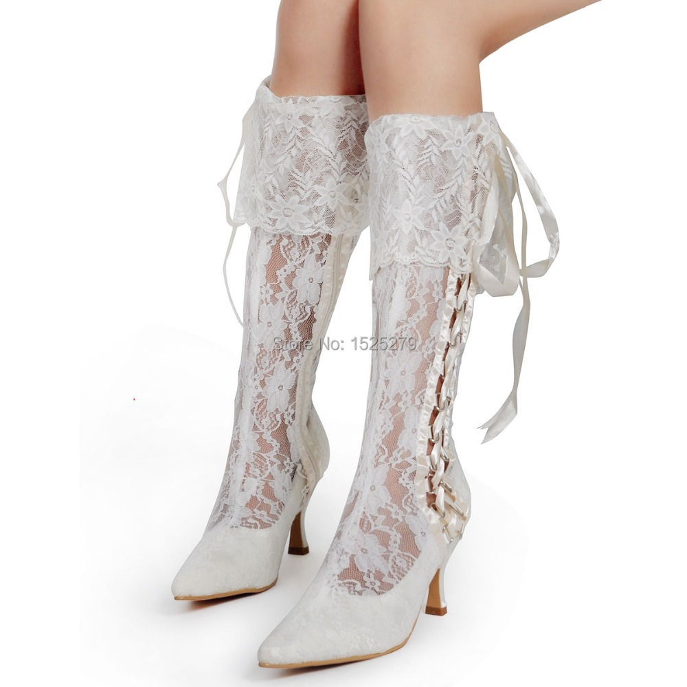 Mb 081 women knee high ivory wedding party pointy toe for Knee high wedding dresses
