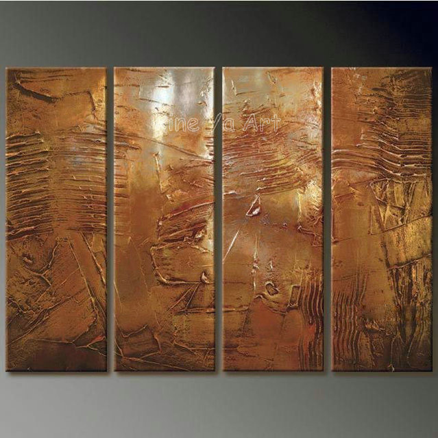 4 Piece Abstract Modern Muti Panel Canvas Wall Art Brown Artwork Oil  Painting On Canvas For