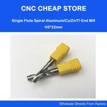 """2 unids 6 mm 1/4 """" alta calidad de carburo del CNC Router Bits una sola flauta molino de extremo herramientas 22 mm de aluminio de corte"""