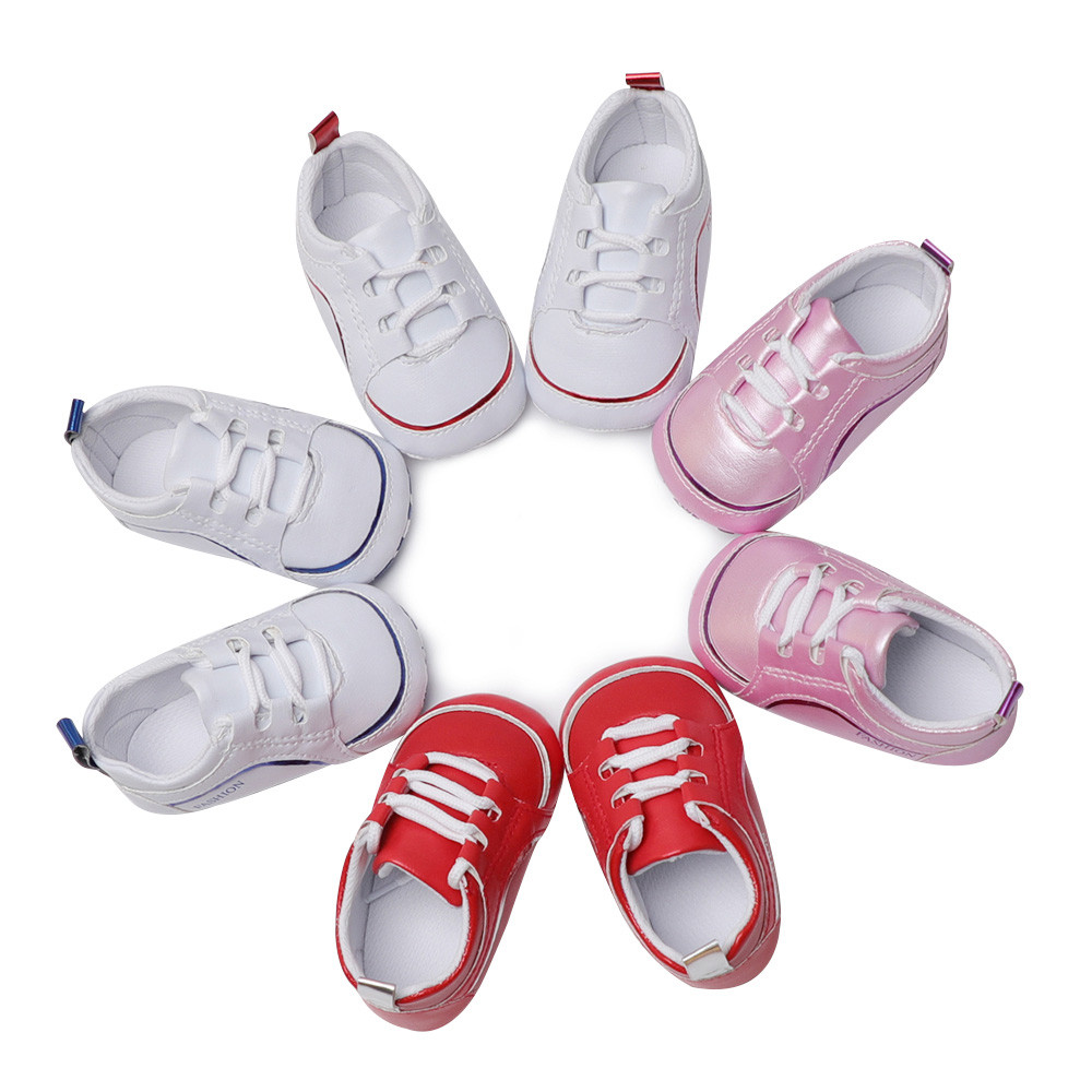 New Toddler Infant Baby Solid Crib Shoes Soft Sole Anti-slip Single shoe sole for doll s ...