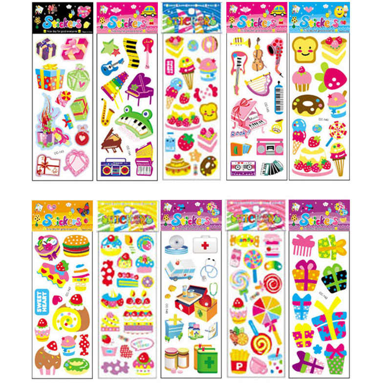 10Pcs Different Cartoon Sticker Toys for Children Gift Kindergarten Sticker Candy Music Decoration on Phone Book No-repeat