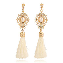 Vintage Handmade Silk Long Tassel Earrings Black White Simulated Pearl Drop Earrings Gold Color Vintage Boho Jewelry Wedding