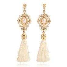 Vintage Handmade Silk Long Tassel Earrings Black White Simulated Pearl Drop Earrings Gold Color Vintage Boho Jewelry Wedding