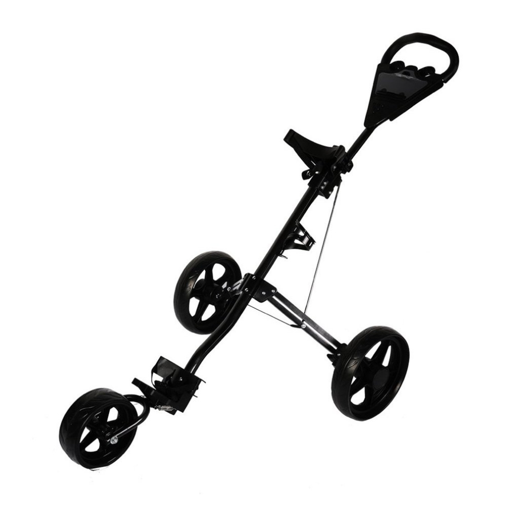 3 Wheel Golf Cart Foldable Push Pull Trolley Lightweight Golf Bag Holder Durable Small Cart Sports Entertainment Ship From DE