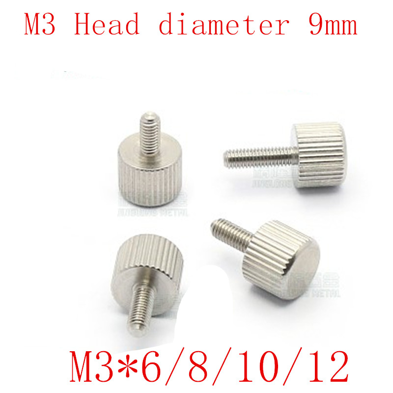 5PCS/LOT M3*6/8/10/12 head diameter 9mm stainless steel  Knurled Flat Head Hand tighten Thumb Screws5PCS/LOT M3*6/8/10/12 head diameter 9mm stainless steel  Knurled Flat Head Hand tighten Thumb Screws