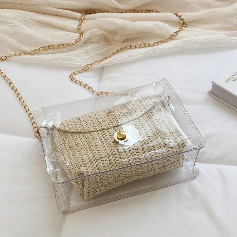 Women PVC Handbag Bags Totes Summer Beach Straw Woven Rattan Shoulder Bag