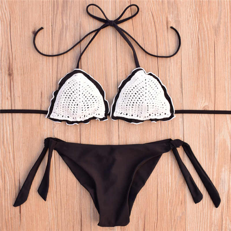 597ac958d5af0 ... Sexy Crochet Bikini set Swimwear Women Halter Knitted Swimsuit Bathing  Suit Brazilian Bikinis mujer biquini maillot ...