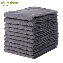 [Mumsbest] 10 шт. вставки из бамбукового угля для детских тканевых подгузников Многоразовые моющиеся вкладыши для настоящих карманных тканевых подгузников