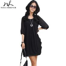 Nice-forever Cool Summer O-Neck Sexy Chiffon Mature 3/4 Lantern sleeve Business Loose Office Casual Woman Work Mini Dress 334(China)
