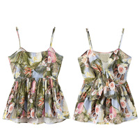 Charming Summer Women Sweet Bow Tie Floral Camis Tops Sexy Sleeveless Adjustable Strap Shirts Casual Blouse Blusas
