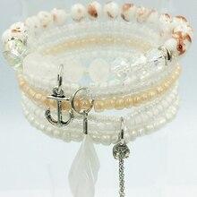 7pcs/set Vintage Boho Charm Bracelets Bangle Women rhinestone Feather  Pendant elastic multilayer crystal Bead Bracelet Jewelry hammer crp 1300 a