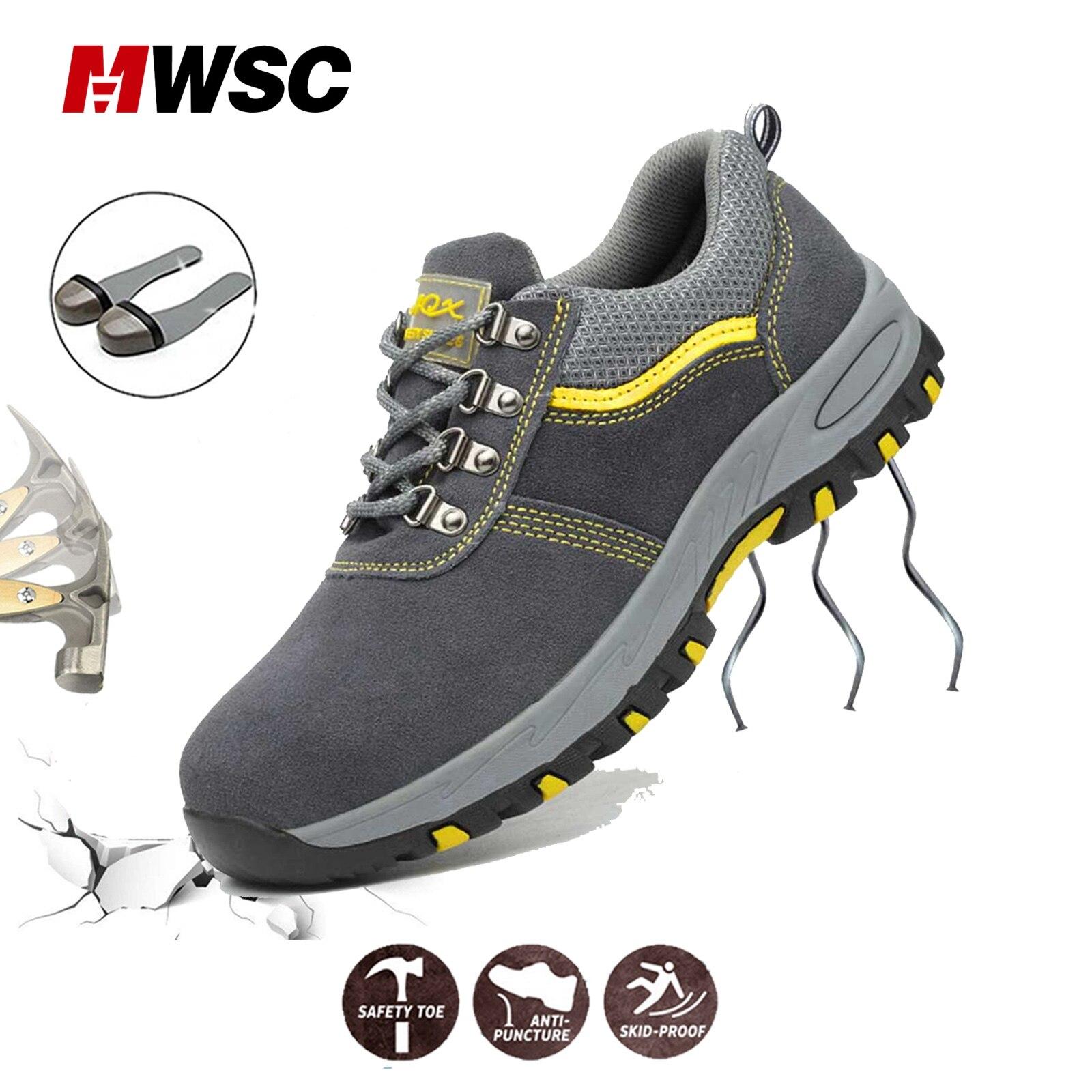 MWSC/Мужская безопасная обувь, ботинки для работы со стальным закругленным носком, защитные ботинки до лодыжки для мужчин
