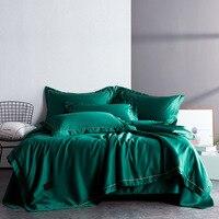 Текстильные простые Делюкс постельные принадлежности Двусторонняя стирка шелк четыре штуки набор чистый цвет двуспальное одеяло простынь