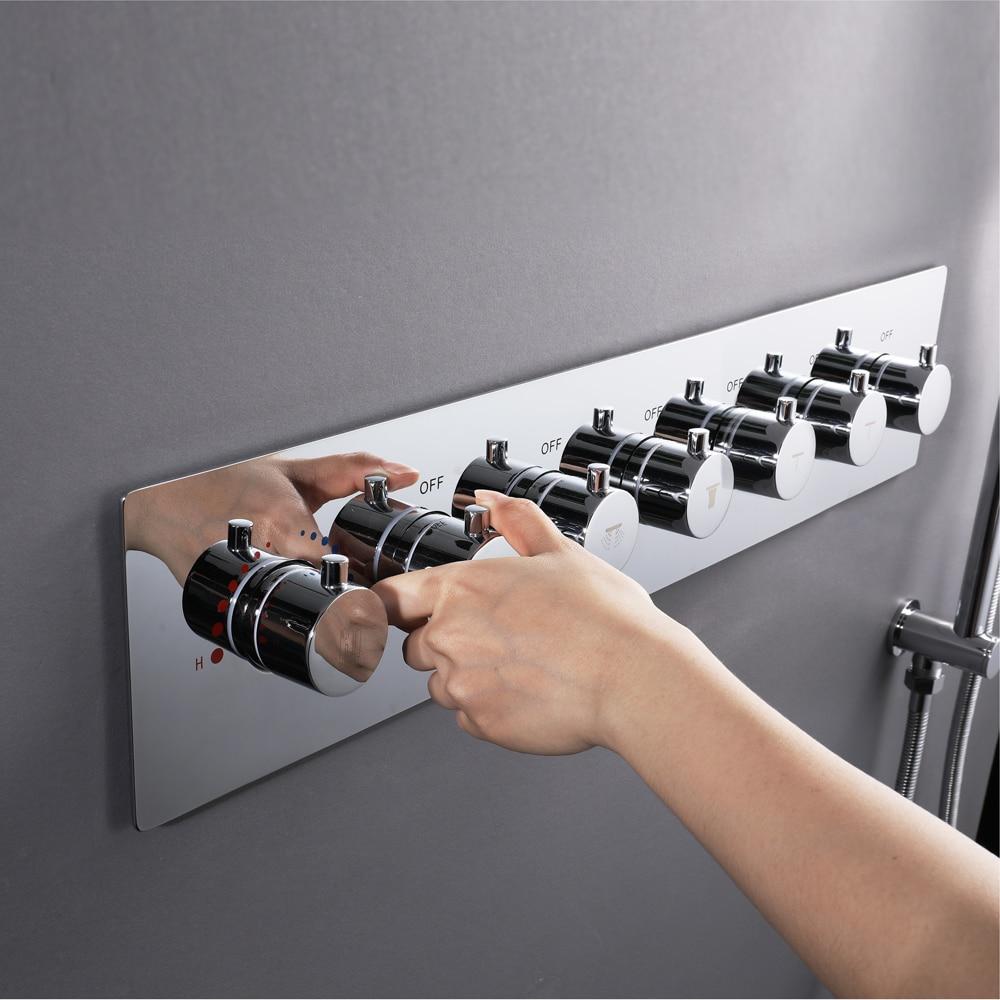 Robinet de douche de salle de bains mélangeant de grands robinets de douche de débit d'eau 6 manières vannes de dérivation thermostatiques en laiton contrôleur de douche Chrome