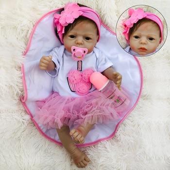 BeBe Reborn Doll Full Silicone Body 55cm Reborn Baby Dolls Lifelike Newborn Baby Gift Juguetes Babies Juguetes Brinquedos цена 2017
