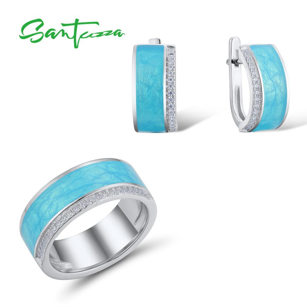 SANTUZZA 925 Silver Jewelry Set For Women Blue Enamel Veins Dazzling CZ Earrings Ring Set серьги кольца Fine Jewelry Handmade