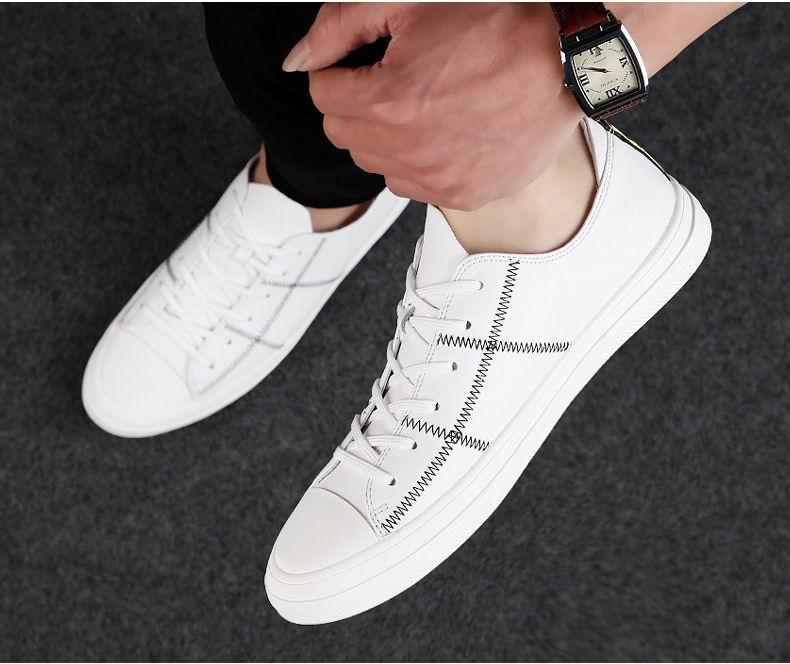 Et Noir Hommes Automne Errfc Plat Up Confort Taille Chaussures Bout 44 Lace Mode Casual Cousu Noir blanc Plate Blanc Homme forme Rond 38 Printemps CTwwxq5