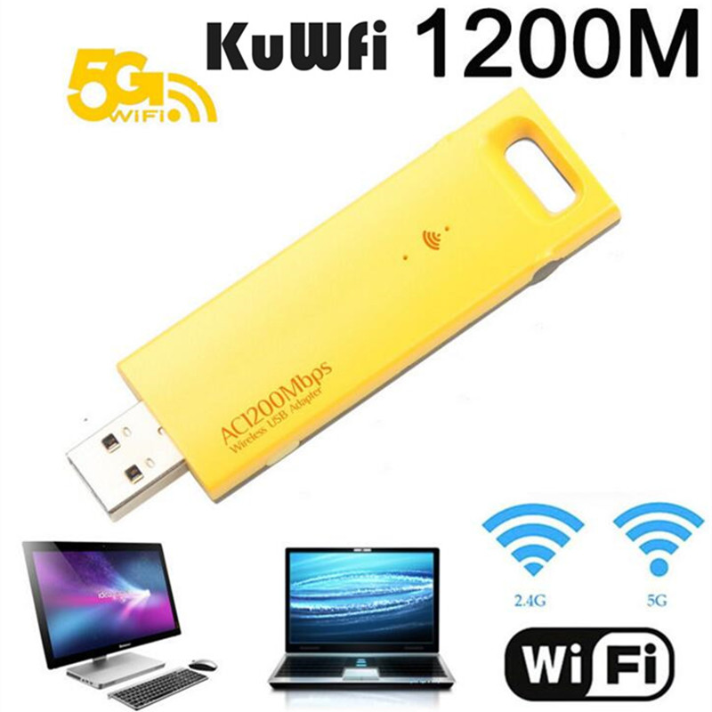 KuWFi Mini USB Wifi Adapter 1200Mbps Dual Band Wireless Wifi Adapter 802.11ac Wifi Receiver Aerial Dongle USB Network Card