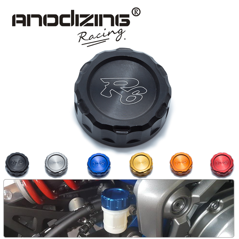 Motorcycle CNC Aluminum Rear Brake Fluid Reservoir Cover Cap For YAMAHA R6  with R6 logo
