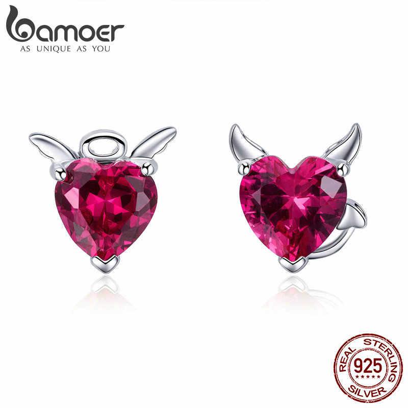 BAMOER Fashion 925 Sterling Silver Angel And Devil Pink CZ Heart Stud Earrings for Women Sterling Silver Jewelry 2018 SCE414