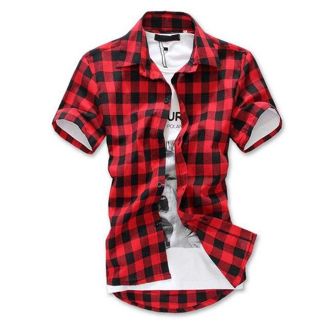 Мода Красный Черный Синий Мужская Клетчатая Рубашка С Коротким Рукавом Мужчин Проверили рубашка Хлопок Мужские Рубашки Причинно Сетки Клетчатой Рубашке Сельма Fit