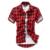 Moda Rojo Negro Azul Para Hombre Camisa A Cuadros de Manga Corta Los Hombres Comprobó camisa de Algodón Para Hombres Camisas Causales de Cuadrícula Chequeado Camisa Silm Fit