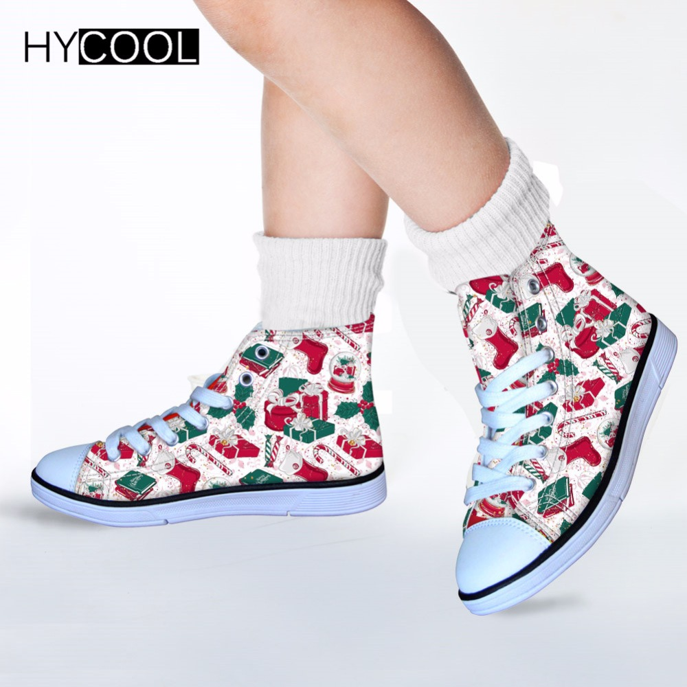 Christmas Sneakers.Us 23 59 41 Off Hycool 2018 Kids Girl Shoes Christmas Pattern Child Sneakers Santa Claus Sports Running Shoes Boys Classic High Top Canvas Shoes In