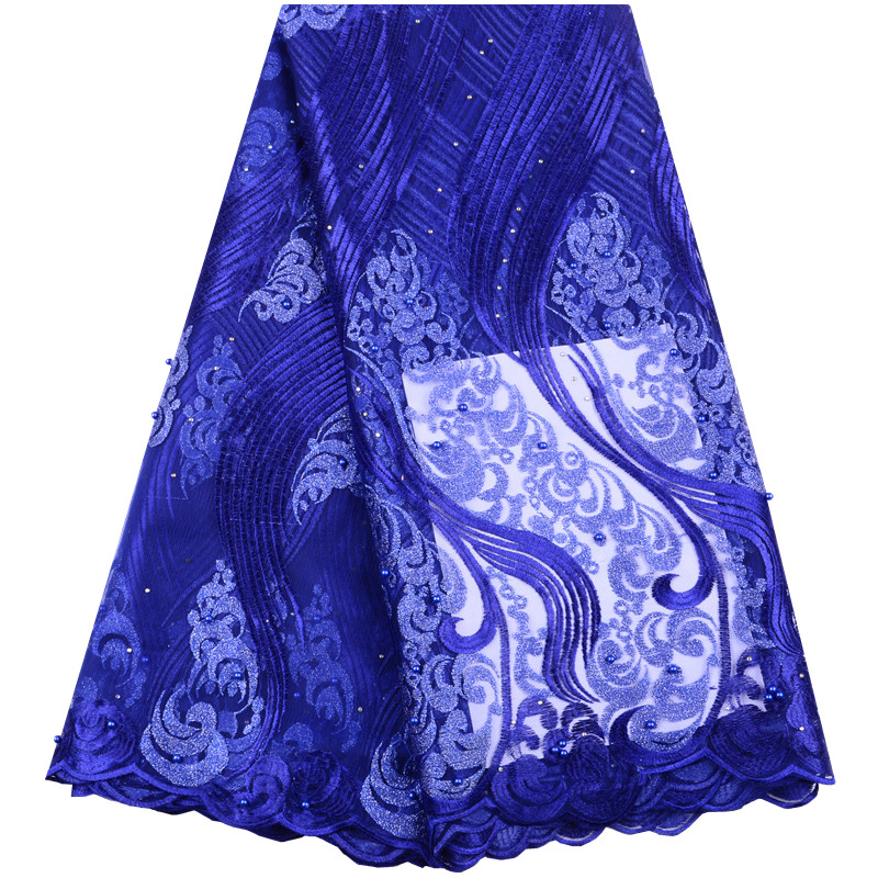 Royal Blue High Quality African Tulle Lace Fabric 2019 French Cord Lace Fabric Nigeria Lace Fabric