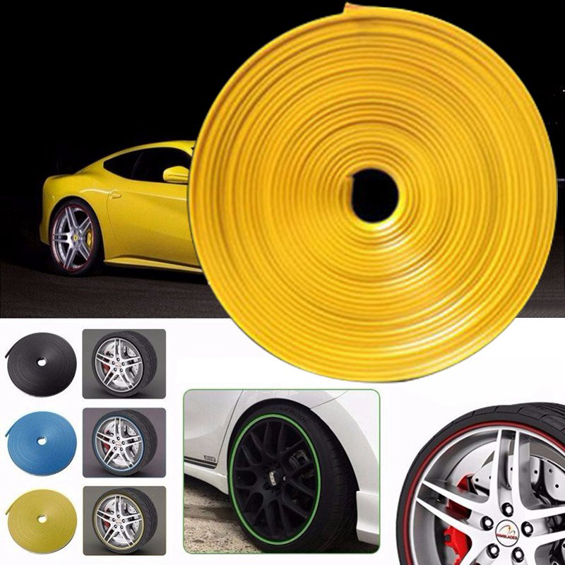 JDM BLUE Wheel Hub Rim Edge Guard Trim Sticker Protector Ring Tire Rubber Strip