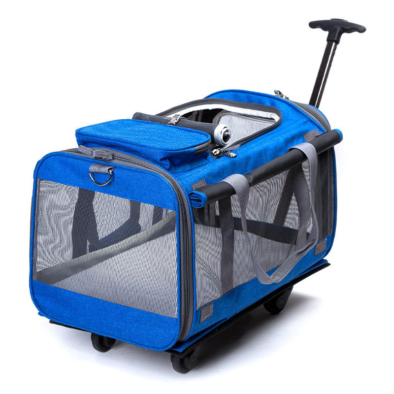 Foldable Big Dog Cat Breathable Rolling Luggage Oxford Suitcase Wheel Moving Kennel Carry on Trolley Pets