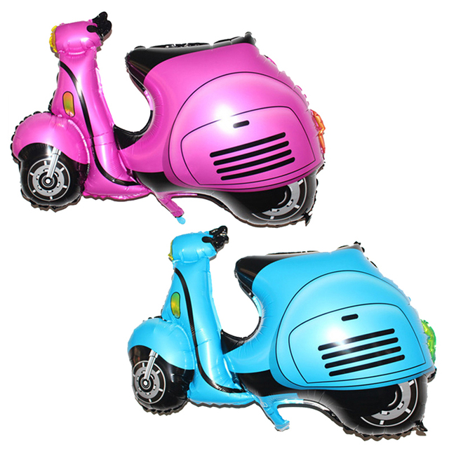 Motorcycle Balloon Kids Happy Birthday Party Decoration Motorbike Ballon Cartoon Autocycle Wedding Decor Supplies Pink