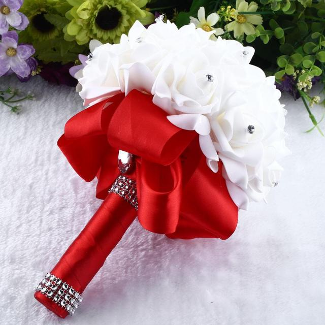 Brooch Bride Rhinestone Wedding Bouquet Fake Artificial Flowers ...