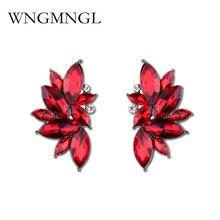 WNGMNGL Fashion New Elegant 10 Colors Crystal Stud Earrings for Women Girl Christmas Party Rhinestone Wings Earring Jewelry Gift