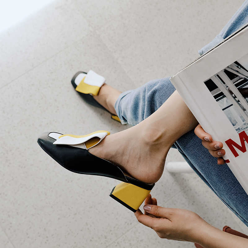 BEIJO Molhado Chinelos Coloridos Mulheres Desliza Sapatos Costura Mulas Fivela Sapatas Das Senhoras sapatos De Salto Alto Partido Sapatos Plus Size feminina 32- 45
