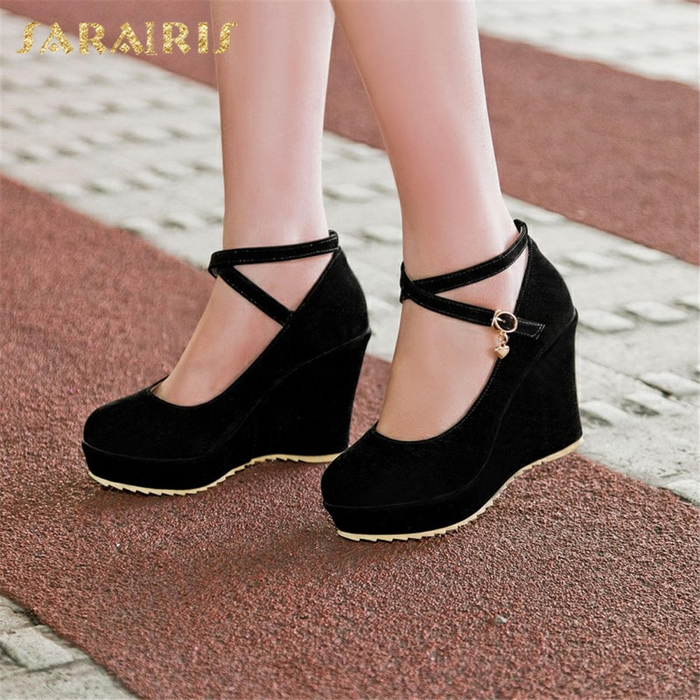 SARAIRIS 2018 Dropship Women's Shoes Woman Spring Fashion Wedge high-heeled cross-strap Shoes Women Pumps SHOE