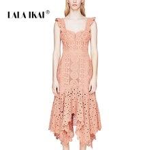 495fd47624 LALA IKAI Summer Embroidery Women Dresses Brand Slash Neck Sleeveless Long  Lady Vestidos Backless Beach Party