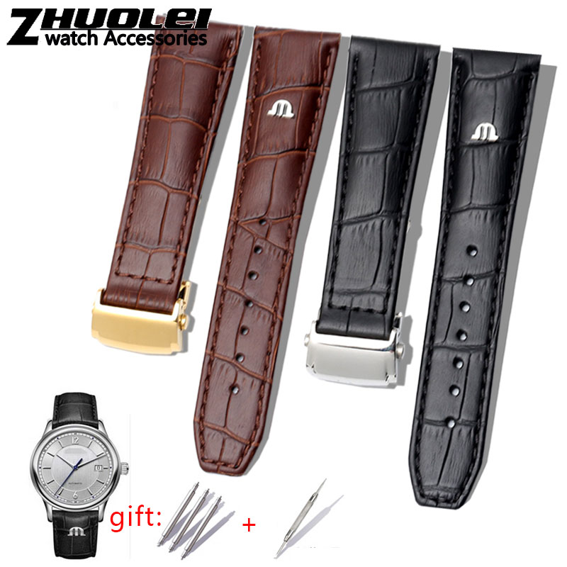 first-layer-calfskin-strap-for-maurice-lacroix-eliros-watchband-cow-genuine-leather-leather-bands-20mm-22mm-with-folding-buckle