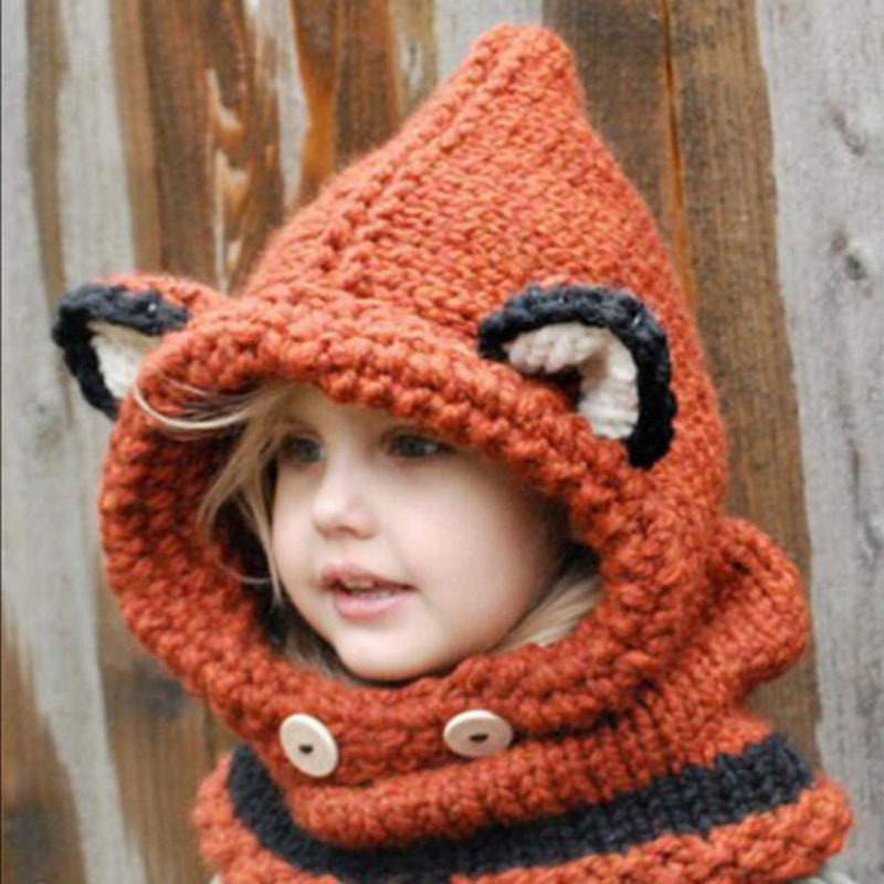 1-7 Years Baby Girls Hats Handmade Kids Winter Hats Wrap Fox Scarf Caps Cute Autumn Children Wool Knitted Hats Free Shipping