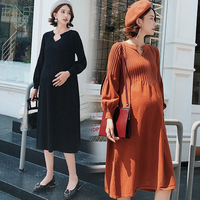 2019New Fashion Maternity Dress High Waist Loose spring autumn winter Skirt Pregnancy Clothes For Knit Pregnant Women Sweater