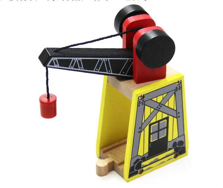 EDWONE -Gantry Crane Track Thomas Wooden Train Track Railway Accessories Crane House Tender Educational Slot DIY