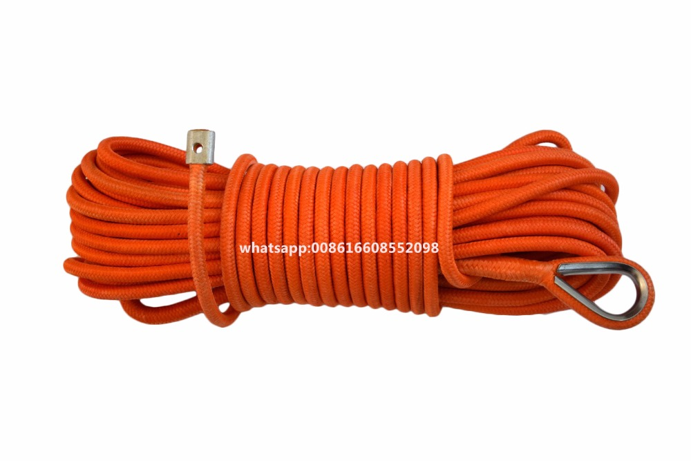 Orange 12mm*30m 4x4 Double Braied Synthetic Winch Rope,Synthetic Rope,Boat Winch Cable