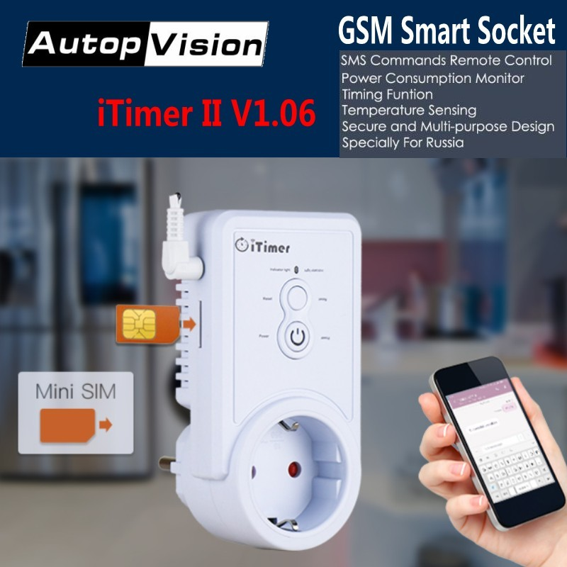 DHL Shipping GSM Smart Power Plug Socket Switch Outlet With Temperature Sensor English/Russian SMS Remote controller