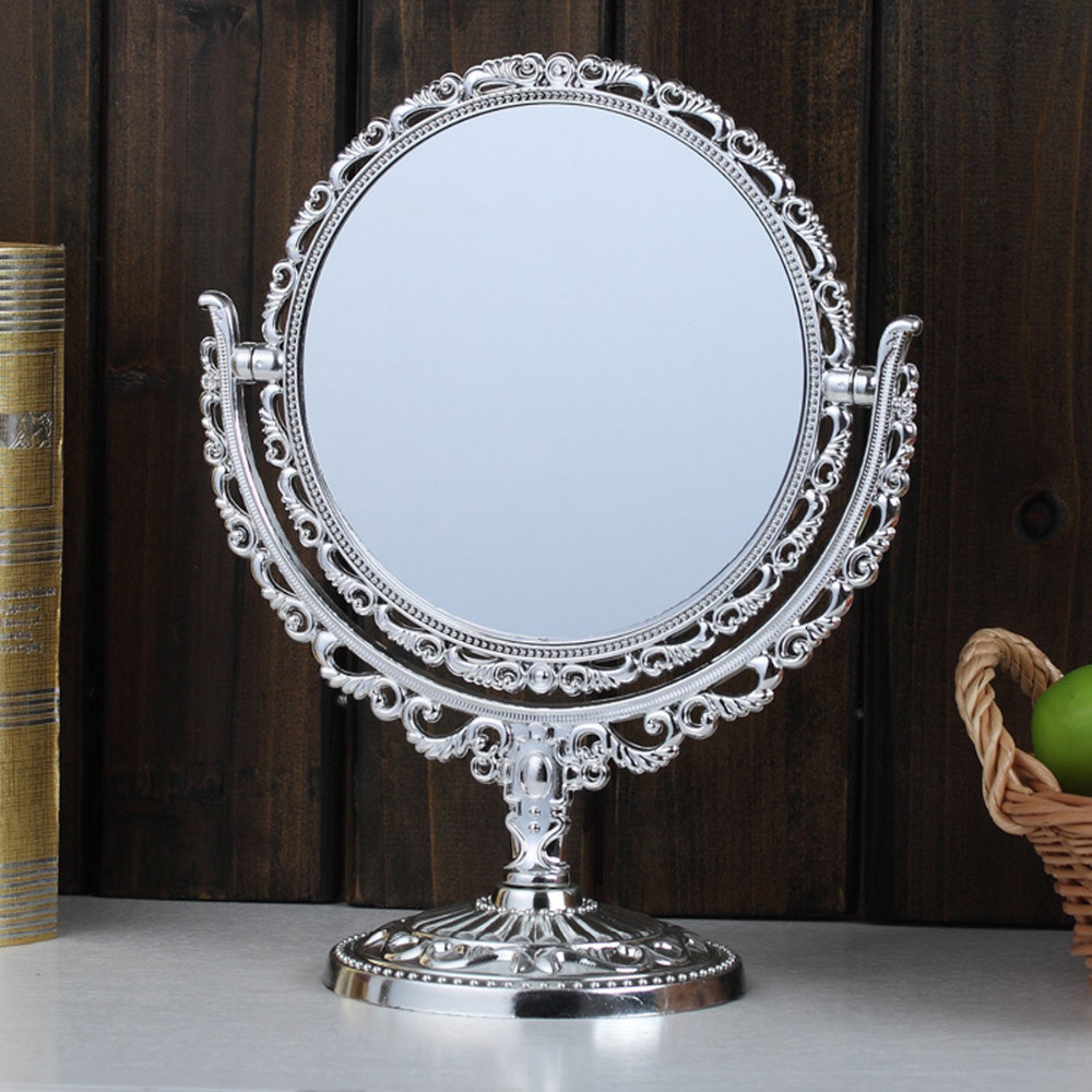 Double sided Make Up Cosmetic Shaving Round Mirror Bath Table Free Stand