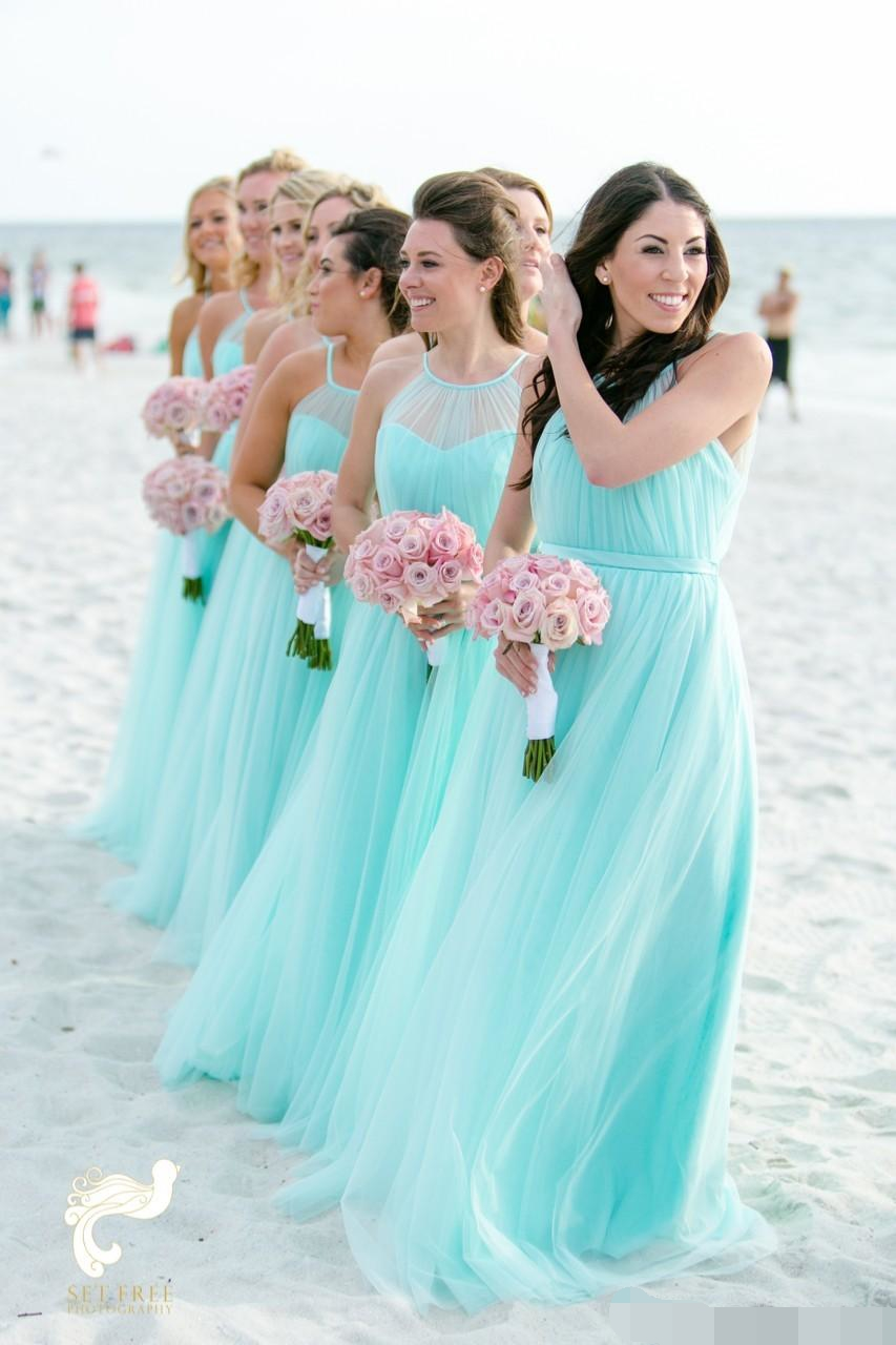 Fashion Light Turquoise   Bridesmaid     Dresses   2019 Plus size Beach Tulle Cheap Wedding Guest Party   Dress   Long Pleated Gown