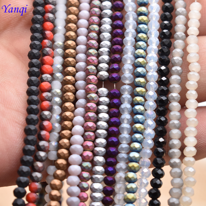 Approx 195pcs 2*2MM Frost Matte Seed Beads Crystal Glass Beads Charms Spacer Beads For Jewelry Making DIY Wholesale