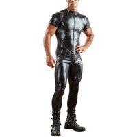 Plus Size 3XL Black Leather Jumpsuit Men Front Zipper Turtleneck Short Sleeve Long Catsuit Gay Nightclub Party Wear Bodysuit