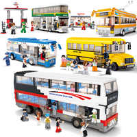 City Bus Garage School Bus Cargo Transport Truck Building Blocks Sets Legoes Bricks Kids Toys Marvel City Friends