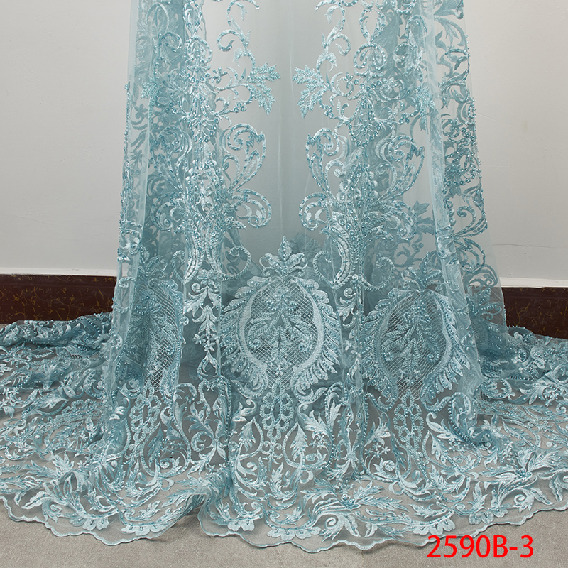 Latest Teal Green African Lace Fabric Embroidery French Tulle Lace 2019 Luxury Handmade Beaded Lace Fabric for Wedding APW2590B