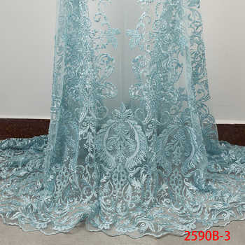 Latest Teal Green African Lace Fabric Embroidery French Tulle Lace 2019 Luxury Handmade Beaded Lace Fabric for Wedding APW2590B - DISCOUNT ITEM  35% OFF All Category